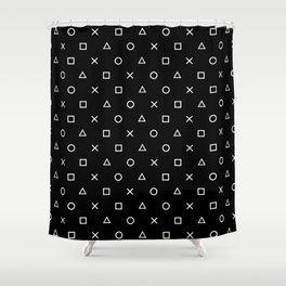 Gamer Pattern (White on Black) Shower Curtain