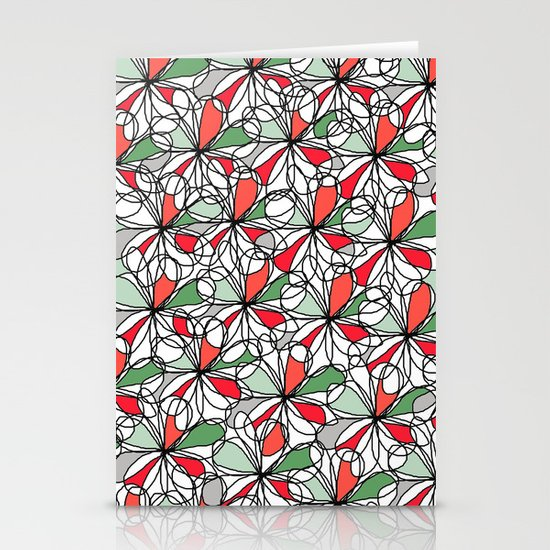 Xmas Floral Doodle Stationery Cards