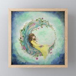 The Girl At The Moon Framed Mini Art Print