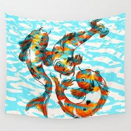 Three Koi Carp Wall Tapestry