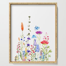 colorful wild flowers watercolor painting Serving Tray