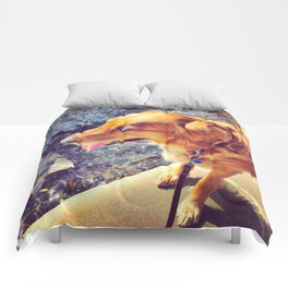 Beautiful dog golden retriever on the swimming pool Comforters