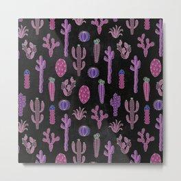 Cactus Pattern On Chalkboard Metal Print