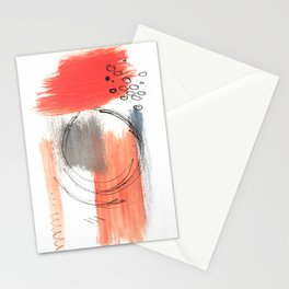 Comfort Zone - A minimalistic india ink and acrylic abstract piece in pink, black, gray, and blue Stationery Cards