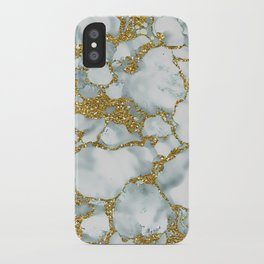 Painted Marble Texture with Gold iPhone Case