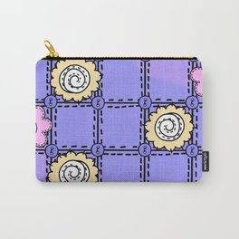Retro Vintage Style Doodle Quilt - Lavender and Pink Carry-All Pouch