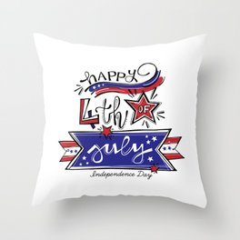 happy independence day american and i'm proud of Throw Pillow