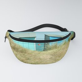 Sandy Dunes, beach huts & a buoy...English seaside Fanny Pack