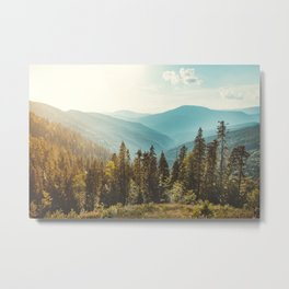 Panoramic view of nature peaceful landscape. Vintage mountains and beautiful blue sky background.  Metal Print