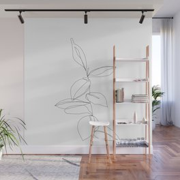 One line minimal plant leaves drawing - Berry Wall Mural