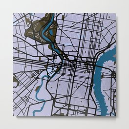 Philadelphia Street Map // Blue Theme Metal Print