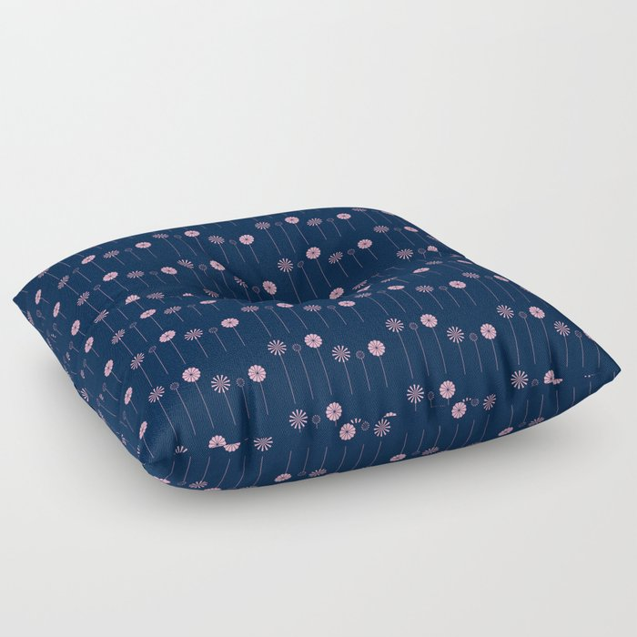 Pink Flowers at Night Pattern Floor Pillow