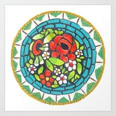 Floral Mosaic Brooch Art Print