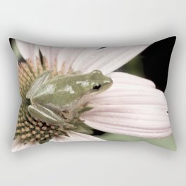 Treefrog on flower Rectangular Pillow