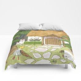 Goldilocks Comes Upon a Woodland Cottage Comforters