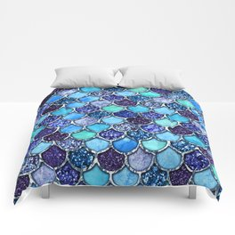 Colorful Teal & Blue Watercolor & Glitter Mermaid Scales Comforters