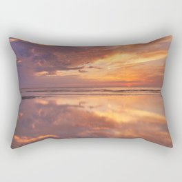 Sunset reflections on the beach, Texel island, The Netherlands Rectangular Pillow