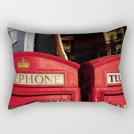 Approaching the roof of two typical English telephone booths. Rectangular Pillow
