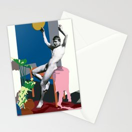 Appropriation of Guglielmo Plüshow's Male Nude Seated on Leopard Skin Stationery Cards