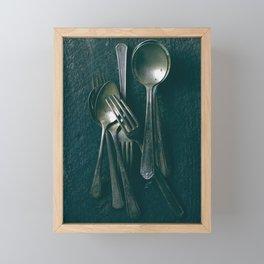 Beautiful Vintage Spoons on Black Framed Mini Art Print