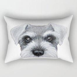 Schnauzer Grey&white, Dog illustration original painting print Rectangular Pillow