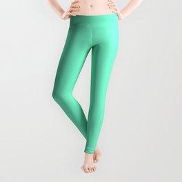 Solid Bright Aquamarine Aqua Blue Green Color Leggings