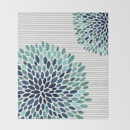 Blooms and Stripes, Aqua and Navy Throw Blanket