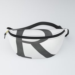 Letter R Initial Monogram Black and White Fanny Pack