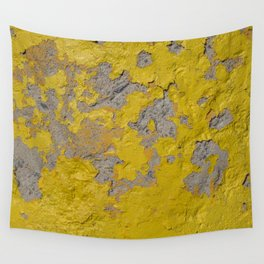 Yellow Peeling Paint on Concrete 1 Wall Tapestry