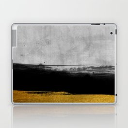 Black and Gold grunge stripes on modern grey concrete abstract backround I - Stripe - Striped Laptop & iPad Skin