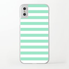 Stripes (Mint & White Pattern) Clear iPhone Case