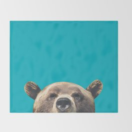 Bear - Blue Throw Blanket