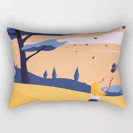 The Blue Hat Girl / Windy Day Rectangular Pillow