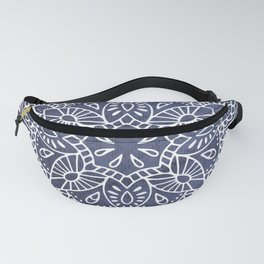 Mandala Vintage White on Ocean Fog Gray Fanny Pack