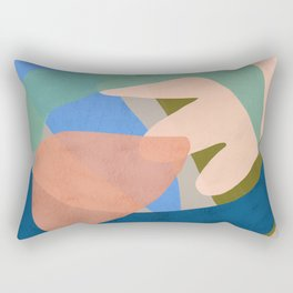 Shapes and Layers no.30 - Large Organic Shapes Blue Pink Green Gray Rectangular Pillow