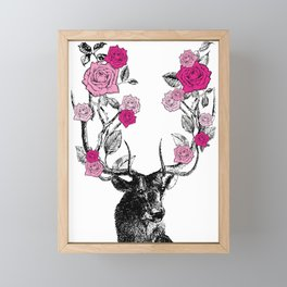 The Stag and Roses | Pink Framed Mini Art Print
