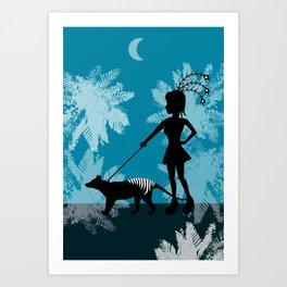Burlesque girl walks her Tiger Art Print