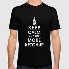 Keep Calm and Use Ketchup Mens Fitted Tee Black MEDIUM