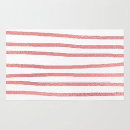 Simply Drawn Stripes Warm Rose Gold on White Rug