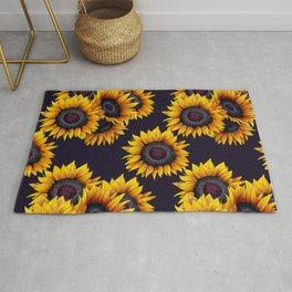 Sunflowers yellow navy blue elegant colorful pattern Rug
