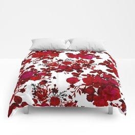 Botanical romantic red black elegant roses floral Comforters
