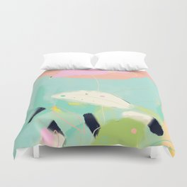 minimal floral abstract art Duvet Cover