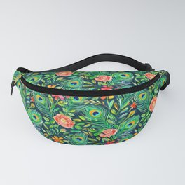 Peacock Feather Posies on dark Fanny Pack