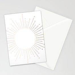 Sunburst Moon Dust Bronze on White Stationery Cards