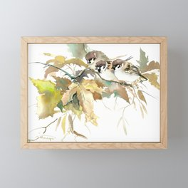 Sparrows and Fall Tree, three birds, brown green fall colors Framed Mini Art Print