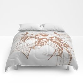 Bronze Animal Skull Abstract Vector Art Comforters