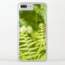 The red butterfly and the forest Clear iPhone Case