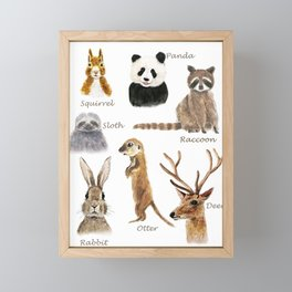 cute animals watercolor collection Framed Mini Art Print