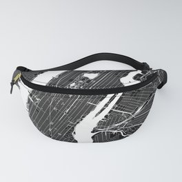 New York City Black And White Map Fanny Pack