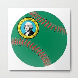 Washington Flag Baseball Metal Print
